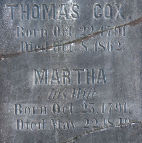 Headstone of Thomas and Martha Cox